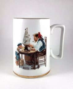 Norman Rockwell For a Good Boy collector cup.  Scene shows a little boy watching his old sea captain grandpa at work.  Cup holds 10 ounces