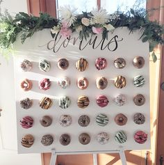 20 Irresistible Wedding Donut Ideas Your Guests Will Love - Hochzeit 20 Irresistible Wedding Donut Ideas Your Guests Will Love Cute Mini Donuts Wall Wedding Decor Ideas Mini Donuts, Donuts Donuts, Wedding Donuts, Wedding Desserts, Wedding Cakes, Engagement Party Desserts, Doughnut Wedding Cake, Donut Birthday Parties, 21st Birthday