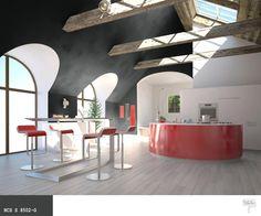 Czerwone meble +ciemne kolory ścian