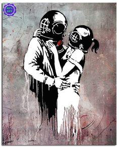 Kissing Divers Think Tank Banksy Graffiti Spray Painting