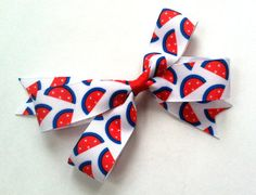 Red White and Blue Patriotic Hair Bow for Girls by MissLittleBowtique, $3.50