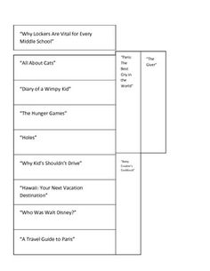 """This is an interactive activity for students.  They will cut out the strips on the first page, which are examples of various texts.  Then, they can cut out the """"author's purpose"""" pockets on the second page, glue them down to their interactive reading notebooks, and sort the slips into the pockets, based on what type of text each slip is."""