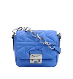 Mini sac à rabat Kuilted Karl Lagerfeld en bleu - Galeries Lafayette déniché avec le magazine #Stylist avec l'application #Overlay