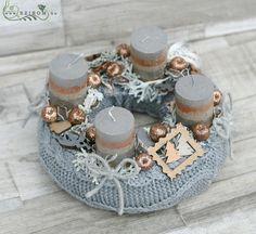 sálas bronz - ezüst adventi koszorú (22cm)