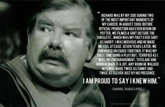 It's been 3 years since we sadly lost Richard Griffiths, who portrayed Uncle Vernon in films. Daniel Radcliffe speaking about Richard Griffiths. Expecto Patronum Harry Potter, No Muggles, Harry Potter Love, Daniel Radcliffe, It Goes On, Mischief Managed, Way Of Life, Looks Cool, Boys Who