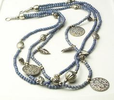 Vintage 3 Strand Blue Bead Silver Flower Disk & Leaf Charm NECKLACE Costume Jewelry on Etsy