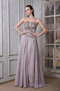 A-line Strapless Satin Chiffon Beading Sequin Evening Dress