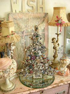 Shabby Chic Home Decor Shabby Chic Christmas, Christmas Love, All Things Christmas, Vintage Christmas, Merry Christmas, Christmas Decorations, Christmas Ornaments, Holiday Decor, Jeweled Christmas Trees