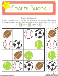 Kindergarten Patterns Worksheets: Sports Sudoku On this kindergarten math worksheet, kids use their logical reasoning and critical thinking skills to solve a fun Sudoku puzzle with a sports theme. Pattern Worksheets For Kindergarten, Patterning Kindergarten, Worksheets For Kids, Sudoku Puzzles, Logic Puzzles, Puzzles For Kids, Vive Le Sport, Critical Thinking Skills, Kids Logo