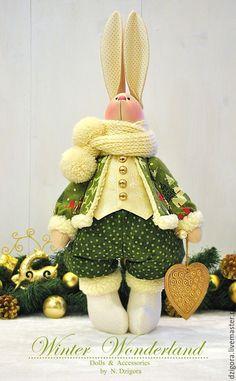 Купить Рождественский кролик Люк - заяц, зайцы, игрушка заяц, игрушка зайка, игрушка зайчик