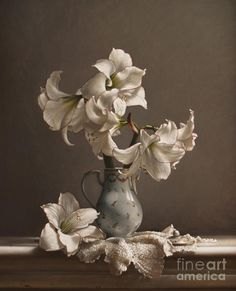 Amaryllis in a French Chocolate Pot - Larry Preston Painting Still Life, Still Life Art, Flower Of Life, Flower Art, Photo Fruit, Still Life Photos, Still Life Photography, Preston, Oeuvre D'art