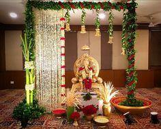27 Best Trending Ganesh Chaturthi Decoration Ideas for home 2019 Housewarming Decorations, Wedding Stage Decorations, Backdrop Decorations, Festival Decorations, Flower Decorations, Diwali Decorations At Home, Backdrops, Mandir Decoration, Ganapati Decoration
