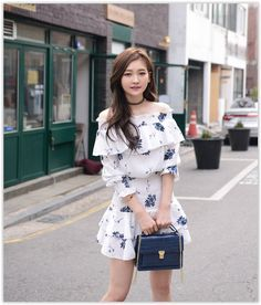 Off-Shoulder Smocked Floral Print Mini Dress #floraldress