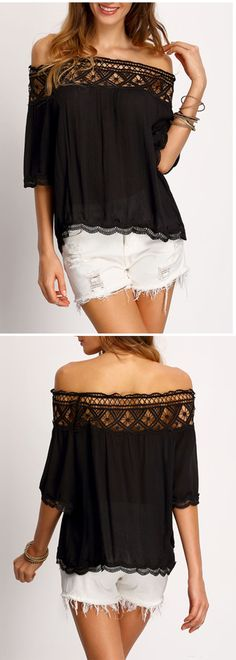 Women fashion trendy this summer-Off the shoulder lace tops. This black one designed into boat neck, half sleeve with crochet hollow out lace detailed. So cute, so sweet!