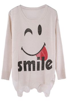 ROMWE | Smile Face Anomalous Lower Beige Jumper, The Latest Street Fashion