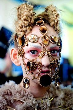 Lara Jensen, Artist, Inbar Spector Accessory Designer, AW 2012, Amy Jane Lockwood VFS Contributor, Photography: Rowan Papier and Raul Rosillo, Stylist: Hope Von Joel, bejewelled jewelry masks