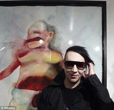 Rock horror picture show: Marilyn Manson puts his predictably dark and disturbing artwork on display Arte Marilyn Manson, Marilyn Manson Paintings, My Favorite Music, Favorite Person, Brian Warner, Horror Picture Show, The Villain, Celebs, Celebrities