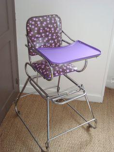 baumann 1960 chaise haute pliante pour enfant formica bleu vintage deco formica 50s recup. Black Bedroom Furniture Sets. Home Design Ideas