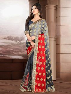 Cute Wedding Designer Embroidery Grey Red Georgette Saree