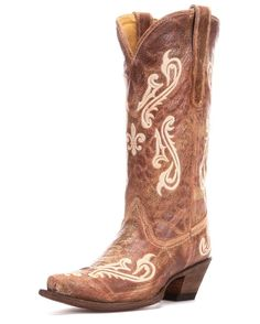 Women's Tan Brown Cortez/Cream Fleur de Lis Boot - I have been looking for these for forever and know I know where to get them!! Would be perfect with a white lace dress or blue jeans and plaid. Perfect western boots for those non-barn days!