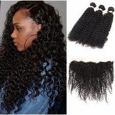 Malaysian Virgin Hair With Frontal Closure Kinky Curly Virgin Hair With Frontal 3 Bundles Curly Weave Human Hair With Closure