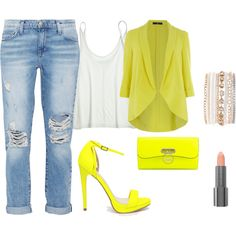 Yellow by candelita-del-pino on Polyvore featuring moda, Calypso St. Barth, Evans, Current/Elliott, Carvela, Christian Louboutin, Lane Bryant and Easy Spirit