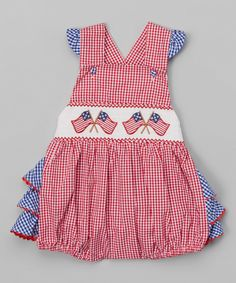 Look at this Red Gingham Smocked Flag Bubble Romper - Infant on #zulily today!