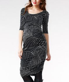 Take a look at this Black & Cream Celina Maternity Three-Quarter Sleeve Dress by Soon Maternity on #zulily today!