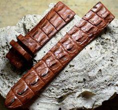GENUINE Brown #ALLIGATOR, #CROCODILE #LEATHER SKIN #WATCHSTRAP BAND 20mm #Handmade