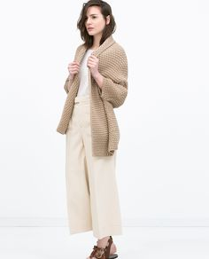 OUTFIT | Zara,Draped Cardigan + High-waisted Culottes + Chocolate brown sandals