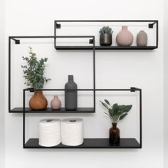 Metallic Black Geometric Bathroom Shelves ★ Spice up your bedroom, living room, bathroom, or kitchen with incredibly stylish and modern floating shelves. Black Wall Shelves, Metal Floating Shelves, Industrial Wall Shelves, Floating Shelves Bathroom, Modern Shelving, Metal Shelving, Industrial Bathroom, Open Shelves, Wall Shelf Decor