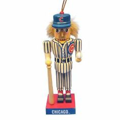 Kurt Adler 5-Inch Chicago Cubs Baseball Player Nutcracker Ornament by Chicago Cubs. $4.99. Wood. Wooden nutcracker ornament. 5-Inch major league baseball wooden ornament. This 5-Inch MLB Chicago Cubs Baseball Player Nutcracker Ornament is the perfect item for any Chicago Cubs fan. Wearing blue and white pinstripes and a blue baseball cap, both featuring the Cubs symbol, this small nutcracker is holding his own baseball bat and is standing on a red and blue base...