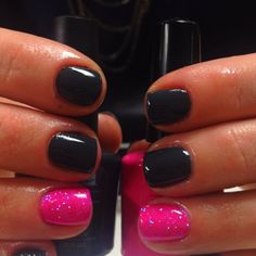 Black and shimmery pink. Cute!