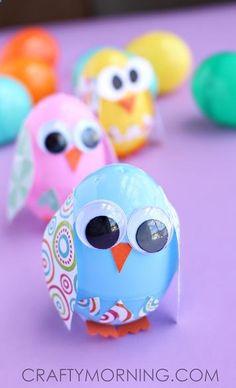 Plastic Easter Egg Owl/Chick craft for kids! | CraftyMorning.com