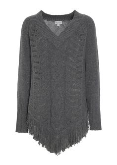 770715 – Rakel Poncho with fringes - Dark Grey