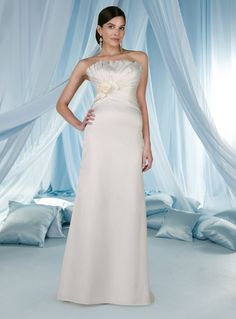 A-line Strapless Fan Pleated Neckline Flowers Satin Wedding Dress-wa0151, $239.95