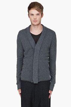 Ann Demeulemeester Charcoal Wool Knit Cardigan for Men SSENSE