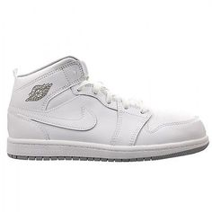 18541255ef29be Nike Air Jordan 1 Mid Ps Little Kids 640734-112 White Wolf Grey Shoes Size