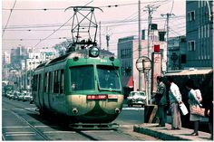 Shibuya ~ Shimotakaido yuki - Vintage Tram in Japan 1969 Rail Transport, Public Transport, Locomotive, Kyoto, Japan Train, Train Light, Tramway, Showa Era, New England Fall