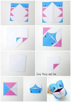 A Arte de Ensinar e Aprender: Fantoche tubarão de origami - Dobradura