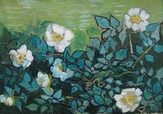 Art of the Day: Van Gogh, Wild Roses, April-May 1890. Oil on canvas, 24.5 x 33.0 cm. Van Gogh Museum, Amsterdam.