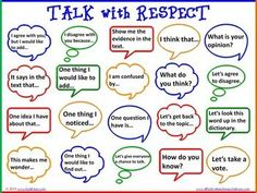 Accountable Talk Bubbles for Literacy & Problem Solving - Student led conversations accountable to the learning content or text is the heart of accountable talk. Accountable talk can be taught and used in any grade level or subject area. The talk bubbles Behavior Management, Classroom Management, Management Tips, Therapy Activities, Respect Activities, Teaching Respect, Counselling Activities, Teaching Empathy, Character Education