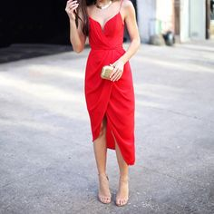 Red silk dress with nude heels worn by Kat Tanita from With Love, From Kat