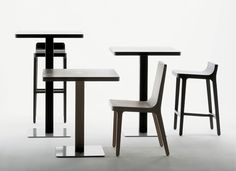 Alki - Emea bistrot table in Oak with Emea chairs and Stools by Jean Louis Iratzoki