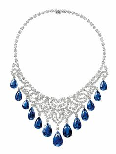 ROYAL GARDENS BY HARRY WINSTON, CASCADING SAPPHIRE AND DIAMOND DROP NECKLACE 13 pear-shaped sapphires, total weight 146.71 carats; 55 round brilliant,marquise-shaped, and pear-shaped diamonds, total weight 4 .49 carats; platinum setting