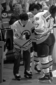 Normand Leveille was a bright up and coming star for the Boston Bruins when a hit by Marc Crawford left him with serious brain injuries ending his NHL career.  So sad.