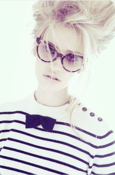 Vintage specs, messy but cute hair, and vintage striped shirt with a bow.cute hair, hair, hairstyle, styles, hairdo, hairstyle for girls, lady women, for girls, hair fashion, hair art, creative hair
