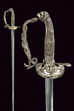 A silver mounted officer's small-sword, dating: first quarter of the 19th Century provenance: Lombardia.