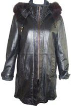 5002 Real Fur Lined PREMIUM Grade Real Genuine Black Soft Supple Light Lambskin Leather 3/4 Half Coat Parka Laydown Collar Zip Front Double Placket Closure Zip Off Hood Fox Trim Draw String, Lined, ZIP OUT SECTION REAL REX FUR VELOUR LINER, Petite Regular Plus Size