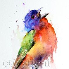 PAINTED BUNTING Watercolor Bird Print by Dean Crouser. , via Etsy.